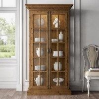 Whether your collection of serveware rivals your mothers, or you want to show off your collection of antique figurines, this 4-shelf curio cabinet holds it all. It has two accent lights up top, activated by just a touch, that shine on your pieces in style. This cabinet is made from a blend of solid and engineered wood and finished in a barnwood hue that showcases wood scoring and rub through for an antique look. Thick crown molding, a beveled base, and windowpane-style glass doors give it a...