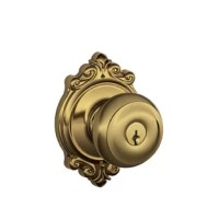 The Schlage Georgian Knob with Brookshire Trim Keyed Entry Lock unlocks when the door is opened from the inside, allowing you to leave quickly and conveniently, and re-enter easily. The modest Georgian knob features symmetrical detailing throughout, while the elaborate Brookshire trim features ornate details and an opulent design aesthetic. Plus, it's been designed and tested with strength and durability in mind.