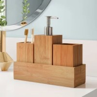 Bring some organization to your bathroom while lending a little modern-inspired style with this 4-piece bathroom accessory set. Crafted from mildew-resistant wood, each piece showcases a clean-lined silhouette and comes in a natural woodgrain finish for a dash of rustic style that's neutral enough to complement nearly any color palette. The included toothbrush holder keeps up to four toothbrushes corralled, while pump dispenser keeps soap or lotion. A small accessory tray can be used for...