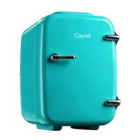 The cooler/warmer 4L mini fridge chills 6 12oz. cans and is perfectly portable for personal use. It's a small size, sleek design and convenient carry handle make it easy to take the mini-fridge with you on the go!