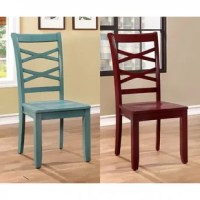 This side chair made of solid wood features a beautiful red and blue color finish and double X-cross back supports, while tapered legs can provide stable support.