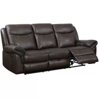 Plush comforting cushions are paired with design-forward functionality to create this sofa. Bask in breathable leatherette and dive into dense foam cushions while it offers the best in relaxation for you to kick up your feet to watch TV or movies. Rest drinks on the center console, store controllers in the hidden storage and easily charge your phone with the built-in USB port. The handy function allows for undisrupted relaxation and the smooth brown finish brings warm homey tones to your living...