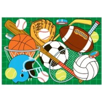 Large sized sports equipment take over the rug so that it will be hard to miss in any room.  You will even be dreaming about sports in this multi-colored, green background, tufted rug, not machine washable.