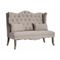 Provide a comfortable seating space to your decor setting by bringing home this transitional style loveseat, featuring a padded seat and tufted cushioned backrest for a comfortable seating experience. Constructed from wood, it is upholstered in beige color fabric. Provided with scalloped top and trimmed skirt, it will be a perfect addition to your existing decor.