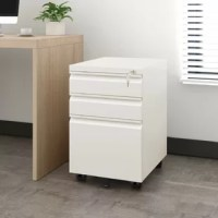 This 3 drawer locking file cabinet fits under most desks, add security to your office.