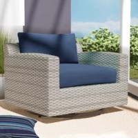 This piece is perfect for giving your patio a spot to relax and soak up the sun – no matter where it moves! Crafted with an aluminum frame, this piece features a swivel design that makes it perfect for turning to keep yourself in the sun (or shade) all day long. Plus, the resin wicker exterior gives this piece a little extra weather-resistance. Included seat and back cushions with removable covers round this piece out with an extra bit of padding to help soften the seat.