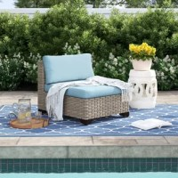 This outdoor furniture is perfect for when you want to sit back with a glass of wine and catch up with friends – or just catch up on some reading. This 2-piece armless patio lounge chair set is crafted from rust-resistant aluminum wrapped in resin wicker, so you don't have to haul them inside when the weather turns. This pair of deck chairs has sleek yet generous deep seating silhouettes for a fresh take on classic wicker furniture. They come fully assembled, complete with thick, foam-filled...
