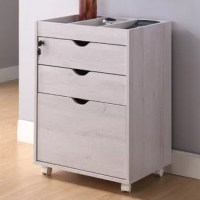 A transitional office drawer with a file cabinet is a versatile furniture piece. The metal glides present more than a single filing space, they also hold two catch-all drawers. Lock away your sensitive documents with a key and keep the duplicate in another secure location for emergency access.
