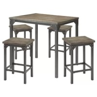 The Counter Height Dining Set offers simple lines with a versatility perfect for any small dining space. This Casual Table features a Smooth Dark Antique Oak Square Top with Metal Legs. The 4 Stools include a Dark Antique Oak Wooden Seat.