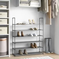 A storage rack is a great way to get your shoes off the floor, keeping your space clean and organized. Take this one for example: Crafted from a black plastic frame with fabric shelves, it measures 42'' H x 34'' W x 11'' D and holds at least eighteen pairs of your favorite footwear. Six tiers make it easy to spot the match for today's outfit. Full assembly is required for this freestanding design.