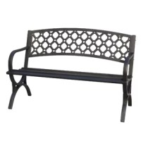 Designed to live in outdoor areas, this garden bench is constructed from weather-resistant powder-coated steel that doesn't mind UV light shining down or rainstorms rolling through. Measuring 34.3'' H x 50'' W x 23.6'' D, it's perfect for perching on your porch or patio with plenty of patterned pillows.