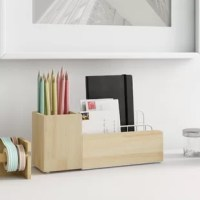 Straighten up your workspace and add a touch of stylish flair all at once with this handy desktop organizer! This piece features a metal wire frame with two wooden drawers for a modern, mixed material look with a breezy feel that's easily added to just about any space. Plus, since it measures just 10.2'' H x 16.1'' W x 5.9'' D, it's the perfect size for adding to nearly any desktop without taking up too much space.