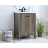 Rounding out our bathroom ensembles while also providing much-needed storage space, vanity sets are a must-have item in our decor. Take this one for example: Crafted from solid and manufactured wood, this piece features two cabinet doors that open to reveal plenty of space to tuck away toiletries, while the porcelain top comes equipped with an integrated basin for your convenience. Plus, a lifted design makes it easy to sweep and vacuum underneath.