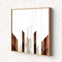 Decorate your walls with some modern-farmhouse vibes with this piece of wall art. It features a white background with painted geometric stripes that are meant to look like slivers of wood. Crafted in the USA, this piece is printed on high quality fiberboard with a satin finish. Plus, it's encased in an eco-friendly bamboo wood frame. It comes with wall mounting hardware, so it is ready to be installed right out of the box and saves you a trip to the hardware store. You can hang this print...