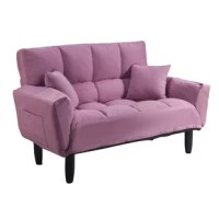 This sofa sleeper offers an upgraded take on the futon, a dorm room, and the first apartment staple. Its square-tufted microsuede upholstery adds a comfy look, while a pair of toss pillows are included. Founded atop tapered oak feet, its backrest adjusts to five different levels, including a horizontal position perfect for sleeping. Whether it's hosting an overnight guest or providing the perfect perch for movie night, this sofa is sure to inspire you to kick back.