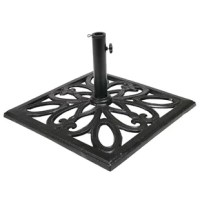 Add an elegant and functional piece of outdoor decor to any patio or backyard with this umbrella base stand. Durably constructed of cast iron, this outdoor patio umbrella base is weather resistant and can withstand the elements outside. This umbrella base is also incredibly versatile and can accommodate umbrella poles of different sizes. The stand alone can accommodate umbrella poles up to 2 inches in diameter. The included pole adapter is designed for smaller patio umbrella poles, and can...