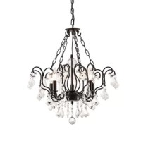 Aren 5 - Light Candle Style Classic/Traditional Chandelier with Crystal Accents