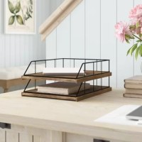 Organize your paper and file folders out of a pile and into a clean organized space with Mccaslin Wood And Metal File Organizer. These desktop letter trays can be used side by side or stacked. Bring organization and modern decorative accents to your home with these charming wire letter trays.