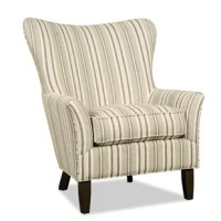 Nicely scaled with a broad curving back, this chair makes a statement in any living room. It features a flared arm, tall tapered legs, and exclusive down blend cushion, for the ultimate in softness.