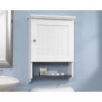 Looking for a little extra storage in your bathroom? This space-saving cabinet fits directly over your toilet and features cubbyhole storage, a frame panel door, and two adjustable shelves so you can neatly store all your bathroom necessities. It also includes a faux slate finished shelf and a beadboard back panel. Finished in a sleek Soft White, this etagere will give your bathroom a fresh new look.