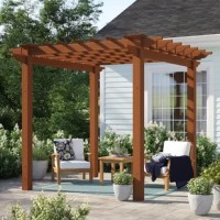 This petite 7.3' square pergola is the perfect addition to your patio, sitting over your arrangement and adding an inviting and defining look to your space, as well as a spot for plants to climb. Crafted from weather-resistant vinyl and recycled wood pulp, it showcases a wood look but resists the weathering traditional wood would receive. It's also warp, crack-, rot-, mildew-, UV-, and fade-resistant, and arrives backed by a 10-year warranty against material defects.