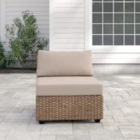 Create a modular sofa, or add an extra seat to your existing outdoor decor – however you plan to use it, this armless sofa chair is here to help you make the most of your patio seating arrangement. It's crafted with an aluminum frame and wrapped in resin wicker, and is designed to resist weather, water, and UV rays, so it's ready to live outdoors year-round. Plus, the included, foam-filled cushions with removable acrylic covers add a little extra comfort while you enjoy warmer weather.