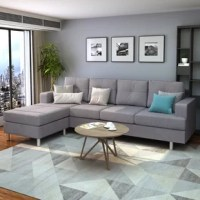 Fine linen material, L shape corner sofa sectional left and right swap, simple contemporary style and classic color all fit in any kind of deco theme.