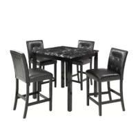 Provide a contemporary and modern style to your dining room with this dining set. The artificial top helps to make your every tableware look even more beautiful and shining. The water-resistant artificial top is extremely easy to clean also make the tableware more shining.. The standard height of the table makes a great addition to the dining room; you can also use it as a desk or writing table.