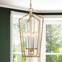 Illuminate your space in a streamlined style with this four-light pendant light. Finished in a glam gold and white candle holder. Three layers of adjustable geometry frame bring agility to space.