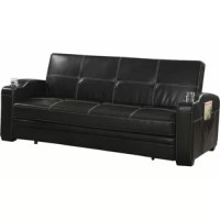 This modern and contemporary sofa bed is upholstered in black leatherette with white contrast stitching that adds a decorative and elegant touch. It comes with the sinuous spring base with foam seat that allows for a sleek and sturdy construction. It is convenient to convert to a really comfortable and generously spacious sleeping spot, while the armrests include cup holders and storage pockets to keep beverage, remote, books and other favorite items at a close reach. Supported upon the solid...