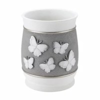 The wastebasket features a gray textured center decorated with 5 raised textural white and silver butterflies and bordered with a silver ring top and bottom. The top and bottom are a matte white finish with glitter for subtle texture. Made of durable resin, hand painted.
