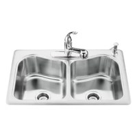 This stainless steel double-basin Staccato sink provides a dignified and sleek look to any kitchen. Its curvaceous design adds the appeal of sophistication and is built to last.