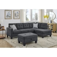 Enhance the contemporary elegance of your apartment, dorm room, or office with this linen sectional sofa. Crafted with a sleek, convertible design that fits well in small spaces. The sofa includes an ottoman that can be placed left or right facing to create a chaise for versatile seating.