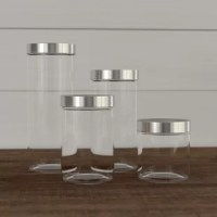 Keep your kitchen organized and your food fresh with this must-have 4-piece kitchen canister set. Made from glass, these four canisters measure different sizes – 0.78 quarts, 1.25 quarts, 1.68 quarts, and 2 quarts – so you can easily stow everything from baking essentials and granola to pasta and rice. They feature stylish silver steel tops for a hint of accent, and clear glass bases that let you see your food. They are not dishwasher-safe, so we recommend washing them with soap and water.