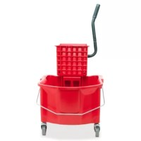Mop bucket/wringer combo offers a bucket and wringer to be used as an alternative cleaning tool to avoid cross-contamination. Red color differentiates it from the standard yellow buckets. The bucket with casters holds up to 26 quarts and displays the international symbol for caution on both sides. The steel handle on the side of the removable wringer makes wringing easier. Steel bucket handle helps lift and empty the bucket. The bucket is made of structural plastic.