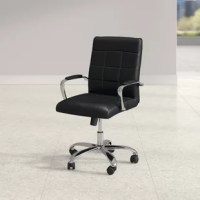 Sit, swivel, and slide as you power through projects with this versatile conference chair. Founded on double-wheel casters, this piece is crafted with a chrome-finished steel frame that can support up to 250 lbs. Vinyl faux leather upholstery cushions the back, seat, and armrests for an easy-to-clean design. Clean-lined accent stitching dots the full-back for a crisp, contemporary look. Best of all, this chair is backed by a five-year commercial warranty.