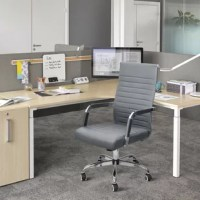 The mid-back office chair is made of elastic and soft polyurethane leather and stainless steel frame, which enhances the carrying capacity suitable for the office.