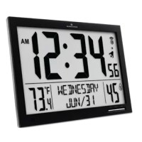 Marathon's atomic digital clock with indoor and outdoor temperature can be wall-mounted or displayed on a desktop. With its built-in foldable stand, this clock is ideal for home, office and workstation settings.