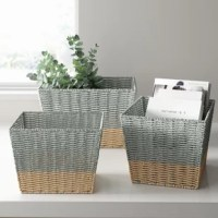 No matter the room you're in, you want it to be neat and tidy. Baskets are a great way to clear clutter while still keeping your space stylish! This set of three nesting storage baskets is crafted from wicker in a two-tone natural and gray design, adding visual appeal to any space they're stored. Plus, these small, medium, and large baskets are stackable, making them easy to store when not in use.