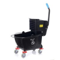 Commercial Mop Bucket with Side Press Wringer has a compact design and a side press Wringer to extract excess liquid from a mop and funnel the liquid back into the basin. The Bucket and Wringer are made of Polyethylene for durability and corrosion resistance and have four non-marking casters for mobility.