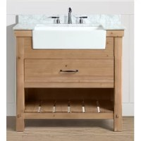 Finalize your bathroom remodel in style with this 36'' W single vanity set. Crafted from solid fir wood and finished in a driftwood look, this piece showcases a traditional look perfect for industrial aesthetics. A slab of white Carrara marble rounds out the piece up top, as well as three pre-drilled holes for a faucet of your choice, and one farmhouse- style ceramic under-mount sink. When it comes to storage, this vanity is equipped with one drawer and an open lower shelf perfect for stacking...