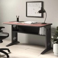 Be simply the best with this  Desk! The simple design and slim profile of this workstation mean a perfect fit for every workspace, no matter the existing decor. It's steel, u-shaped legs create smooth lines that will make you do a u-turn for another look! To expand on its intrigue,  This Desk also features a wood top.