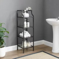 Stylish and modern, the Hartwick Short Étagère is an eye-catching addition to a bathroom or home office. With a sturdy yet sleek steel frame, this etagere can store bath items like towels and toiletries or books and decor for a home office. The open tempered glass shelves of the étagère offer organization without overwhelming the room.
