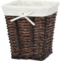 Decorative and functional storage with unique weave and finish using rush braid and will. Removable washable cotton blend liner.