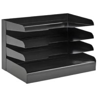 Black 4-tier steel legal size horizontal desk tray feature radius cutout shelves for easy access to papers and files. Durable, heavy duty base for stability. Black powder coat finish.
