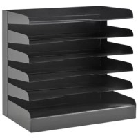 Black 6-tier steel legal size horizontal desk tray feature radius cutout shelves for easy access to papers and files. Durable, heavy duty base for stability. Black powder coat finish.