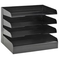Black 3-tier steel letter size horizontal desk tray feature radius cutout shelves for easy access to papers and files. Durable, heavy duty base for stability. Black powder coat finish.