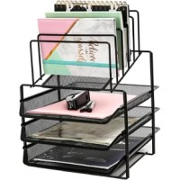 Desk organizer wire mesh has 3 layer sliding letter trays with 5 upright sections and dividers which can be as paper Sorter or file holder filing shelves for both office and school.