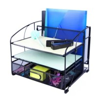 Mesh desk organizer office supplies 3 trays and desktop file holder with sliding drawer and hanging file holder/vertical upright section for office home multifunctional.