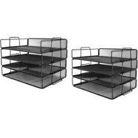 Wire mesh paper sorter has 4 pieces tier which is a good desk multifunctional organizer or file holder letter tray stackable for office, school, and study.